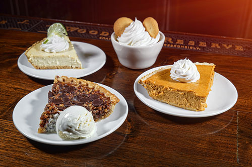 dessert, pumpkin pie, pecan pie, key lime pie, banana pudding