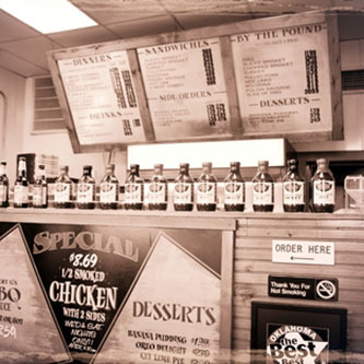 menu, counter, bar-b-q, Albert G's, Harvard St, interior