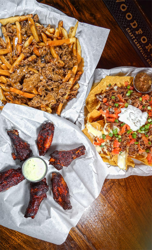 food, delicious, appetizers, nachos, wings, fries, bar-b-q
