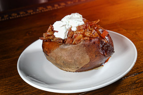 baked potato, appetizer, loaded, sour cream, bar-b-q