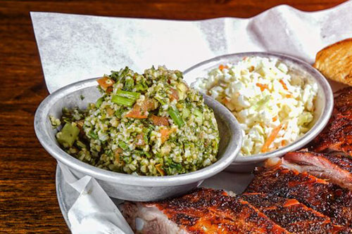 side dishes, bar-b-q, tabouli, coleslaw, Albert G's