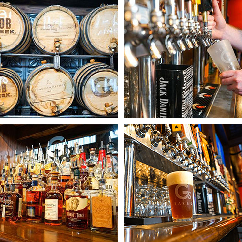 whiskey barrels, Jack Daniels, beer on tap, bar, whiskey